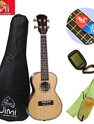 "jimi®26 ""fir madeira vermelha praia concert cor ukulele + backage + cinta + tuner + escolher terno"