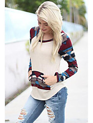 DUIQI Women's Patchwork Multi-color Tops & Blouses , Vintage / Sexy / Party / Work Round Long Sleeve