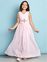 Ankle-length Chiffon Junior Bridesmaid Dress - Blushing Pink A-line V-neck
