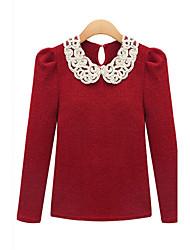 Ihålig Långärmad T-shirt Kvinnors Asymmetrisk Bomull