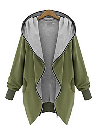 Women's Solid Black / Green Jackets , Casual Hooded Long Sleeve