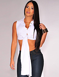 Women's Denim Tie Front Tunic Top