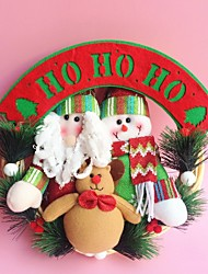 "30CM/12"" Christmas Rattan Hoop Christmas Decoration Hangings Christmas Wreath Santa Claus Snowman Reindeer"