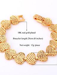 Vogue New Vintage Heart Bracelet Bangle 18K Gold Platinum Plated Jewelry for Women Men High Quality