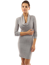 Women'S The Scarf Collar Long-Sleeved Dress