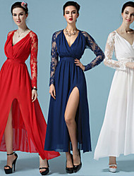 Women's Lace Blue / Red / White Dresses , Lace / Party V-Neck Long Sleeve