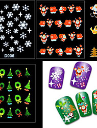 6PCS Mixed  3D Christmas Snowflake Feather Santa Claus Nail Art Stickers