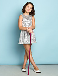 Short/Mini Sequined Junior Bridesmaid Dress - Silver A-line Jewel