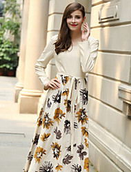 Women's Floral Multi-color Dresses , Casual Round Long Sleeve