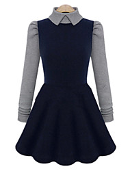 Fashion Plus Sizes Women's Turtleneck Long Sleeve Knitting Stitching Slim High Waist Dress