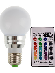 HRY® 3W E27/E14 180LM RGB LED Light Color Changing Lamp Bulb With Remote Control (85-265V)