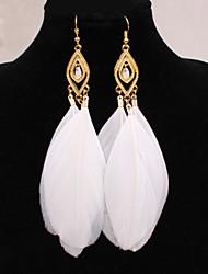 Feminino Brincos Compridos Europeu bijuterias Jóias Liga Pena Jóias Para
