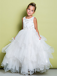 Lanting Bride ® A-line Floor-length Flower Girl Dress - Organza / Satin Sleeveless Jewel with Appliques / Beading