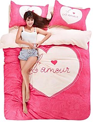 Lovely Pink Heart Bedding Set Of 4pcs For Four Season Use
