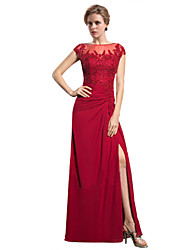 Sheath / Column Mother of the Bride Dress Floor-length Chiffon with Appliques