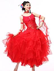 Danse de Salon Tenue Femme Spectacle Elasthanne Crêpe Ruché 4 Pièces Sans manche Robe Tour de Cou Bracelets