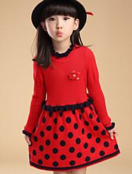 Vestido Chica de - Invierno / Primavera / Otoño - Mezcla de Lana - Negro / Rojo