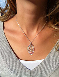 Hollow out leaves silver necklace