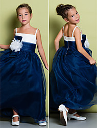 A-line Ankle-length Flower Girl Dress - Organza Sleeveless Spaghetti Straps with Flower(s) / Ruching