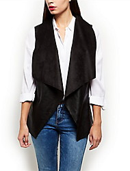 Women Faux Leather Outerwear / Top , Belt Not Included Leather Vest