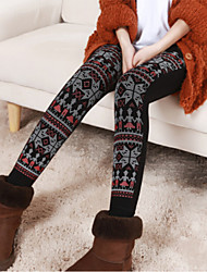 Women Print / Fleece Lined Legging , Polyester Thick