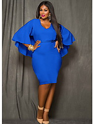Women's Solid Color Blue / Red / Black Plus sizeDresses , Sexy / Bodycon / Party V-Neck Long Sleeve