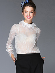 Women Clothing Europe Vintage Palace Style See Through Embroidery Lace Hook Flower Blouse Shirt Tops