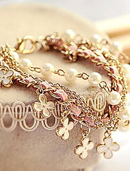 leather Charm BraceletsFashion Korean Style White Pearl Clover Bracelet Leather Rope Bracelet Jewelry Christmas Gifts