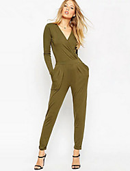 Dominic Women's Solid Color Green Jumpsuit , Casual / Work V-Neck Long Sleeve