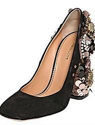 Zapatos de mujer - Tacón Robusto - Tacones - Tacones - Oficina y Trabajo / Vestido / Fiesta y Noche - Ante - Negro