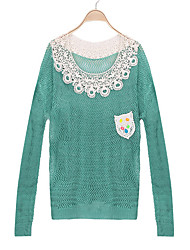 Women's Solid Color Pink / Black / Green  Sweaters , Casual Round Long Sleeve