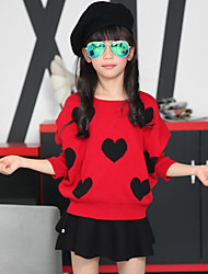 Girl's Heart-shaped Bat Sleeve Clothing Sets (Sweater & Skirt)