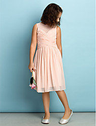 Lanting Bride® Knee-length Chiffon Junior Bridesmaid Dress - Mini Me A-line Jewel with Criss Cross