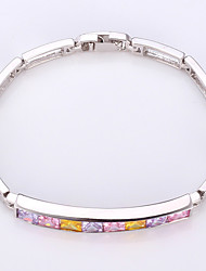Vogue Luxury AAA+ Zirconia Cubic Bracelet Bangle 18K Gold Platinum Plated Jewelry for Women High Quality 17CM