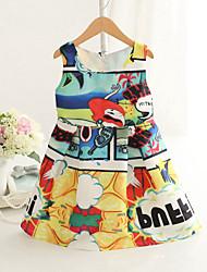 Girl's Fashion Simplicity  Cotton Blend   Fall/Spring Cartoon Printing Jumper Skirt Princess Dress