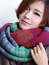 Women Stitching Color Warm Colorful Wool Scarf
