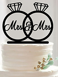 NEW Party Supplies Fondant Cake Decorating Tools Personalized Wedding Rings Mr & Mrs Silhouette Acrylic Cake Topper