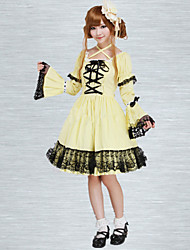 Cotton Yellow Lace Gothic Lolita Dress