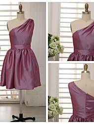 Knee-length Taffeta Bridesmaid Dress - Grape A-line One Shoulder