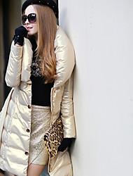 DABUWAWA Women's Casual Party Fashion High-Neck Long Sleeve Feather Coats