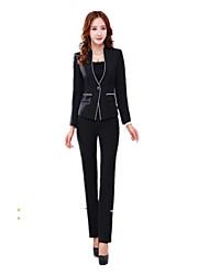 Women's Solid Blue / Gray Blazer , Sexy / Work Deep V Long Sleeve  (Suit + Pants)