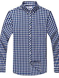 Men's Cotton Casual Long Sleeve Check Shirts