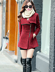 Women's Coat,Solid Long Sleeve Winter Red / Gray Wool / Others Thick