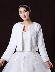 Fur Wraps / Wedding  Wraps / Fur Coats Coats/Jackets Long Sleeve Faux Fur White Wedding / Party/Evening Scoop Flower(s) Open Front