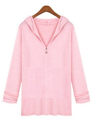 Women's Casual/Daily Simple Fall Shirt,Solid Hooded Long Sleeve Blue / Pink / White / Black Cotton Medium