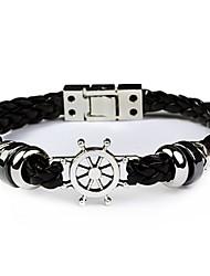 Fashion Men Bracelet Rudder Helm Leather Bracelet
