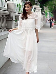 Women's Lace White Dresses , Casual Round ½ Length Sleeve