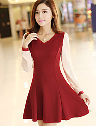 Women's Solid Red / Black Dress , Casual Round Neck Long Sleeve