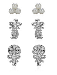 Cotton Tree Set of 3 Comb Kont and Shell Pearl Women Fashion Stud Earrings