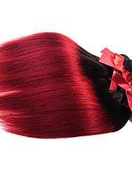 Бразильские девственные ombre шелковистые прямые волосы переплетаются 1шт два тона t1b / bg человеческие волосы утки 50g / pcs